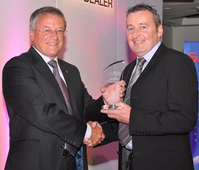 Steve Parkin presents Award to Peter McGreevy of Cheshire Turf Machinery